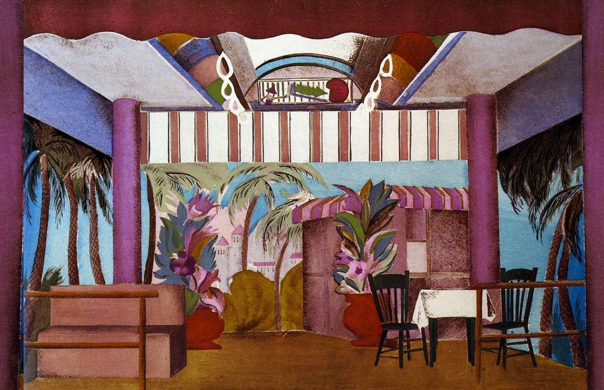 in the same show the buttonmaker dreams of a beach resort boardwalk aronson keeps the ceiling of the subway car intact for this set - Aronson Furniture