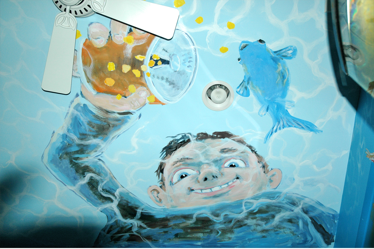 Fish tank painting - ________joey Wanted The Aquarium Room To Feel Like You Were Inside A Fish Tank ________i Painted This Boy On The Ceiling Feeding His Fish